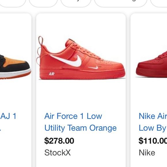 nike air force 1 utility team orange